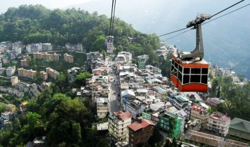 Aerial view of Gangtok from ropeway ride